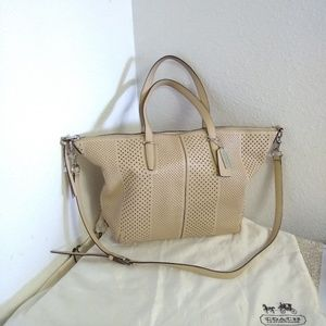 Coach Tan Perforated Leather Bag